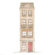 Love, From a Brunette Rebecca Horne Building Illustration, House Illustration, House Sketch, House Drawing, Baby Popo, Building Sketch, Bullet Journal Art, Book Projects, Pictures To Paint