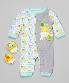 Another great find on #zulily! Mint & Yellow Geometric Giraffe Playsuit & Booties - Infant #zulilyfinds