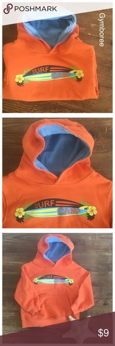 Gymboree cool surf hoodie Surf camp orange hoodie by Gymboree in excellent condition. Hoodie is lined in baby blue, has front  kangaroo pocket, and very soft. Retail $28  PLEASE SEE MY LISTINGS! I LOVE TO BUNDLE YOUR LIKES TO SAVE YOU MONEY!p Gymboree Other