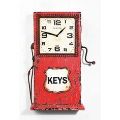 Ρολόι τοίχου Petrol Station Ρολόι τοίχου κατασκευασμένο από MDF, σε κόκκινο χρώμα με τεχνητή παλαίωση, σε σχήμα όμοιο με αυτό που είχαν παλαιότερα οι αντλίες βενζίνης! Το ρολόι αυτό, πέρα από μοναδικό vintage κομμάτι αποτελεί έναν έξυπνο τρόπο αποθήκευσης, μιας και λειτουργεί και ως ντουλαπάκι - κλειδοθήκη. Λειτουργεί με μια απλή μπαταρία 1xAA Union Jack, Clock, Wall, Home Decor, Watch, Decoration Home, Room Decor, Clocks, Walls
