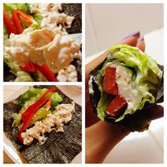 CLEAN & HEALTHY lunch or dinner idea: chicken salad hand roll! Mix shredded chicken breast with nonfat plain greek yogurt, then fill nori with the meat, your veggies, and roll it up. BOOM! Food is served.