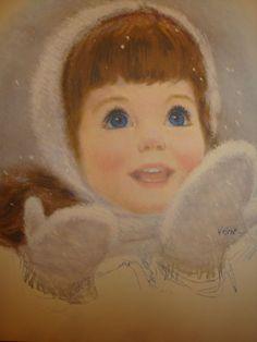 Big Eyed Girl Winter Mittens - Frances Hook