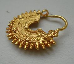 traditional design 20k gold nose ring nath nose ornament rajasthan india by tribalsilver99