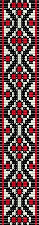 Bead loom pattern red white black bracelet square stitch pattern