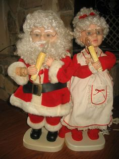light up animated mr and mrs santa claus from santas best free shipping up - Animated Christmas Dolls