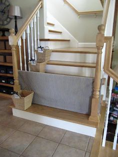 DIY baby gate or pet gate for stairs ~ photo tutorial ~ Sew Many Ways.PVC Dog Gate and Stair Baskets Too Diy Dog Gate, Diy Baby Gate, Baby Gates, Pvc Gate, Stair Gate, Dog Gates For Stairs, Stair Basket, And So It Begins, Home Projects