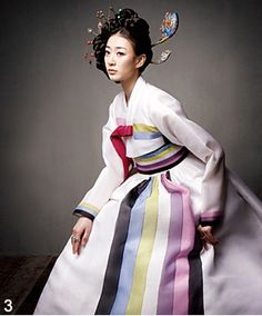 Hanbok - pale chima with vertical pastel & black stripes