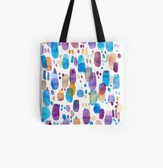 'Watercolors blue and purple strokes' Tote Bag by Florcitasart Pattern Making, Abstract Pattern, My Drawings, Mauve, Original Artwork, Finding Yourself, Watercolor, Tote Bag, Art Prints