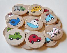 Memory Game Transportation Waldorf toy Game por 2HeartsDesire