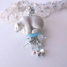Necklace Arctic Ice Polar Bear Raw Crystal Keishi Pearls Aqua Blue Highlights Think Cool!  #polarbear #necklace #totem
