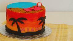 Birthday Cake à thème Miami - moelleux chocolat - crème au beurre praliné