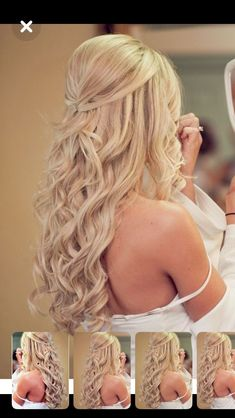 Engagement Hairstyles, Braided Hairstyles For Wedding, Bride Hairstyles, Down Hairstyles, Wedding Hair Front, Boho Wedding Hair, Wedding Hair And Makeup, Long Curly Bridal Hair, Bridal Hair Down With Veil