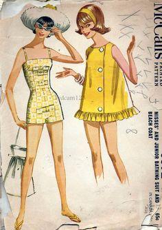 Vintage 1960 Bathing Suit and Beach Coat..Camisole Bodice Boy Leg Shorts...1962 McCalls 6372 Bust 34 UNCUT