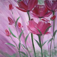 Bloemen schilderijtje  maat 30x30  acryl  http://members.home.nl/jeannettevanwelie/