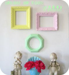 Trio of Vintage Pastel Frames Wall Decor by ShabbyVintageMom