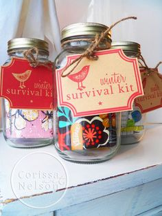 Winter Survival Kits are easy and fun to put together for teachers, friends, and hostess gifts. Gather a small collection of natural products, such as lotions, lip gloss, and anti-bacterial gel. Find tissues with fun packaging. Add some little candies. You can add a cute touch with these free printable tags for your basket or jar. Freebie Tag Download The tags in my photo were printed on a natural cardboard colored cardstock. The file is bright red and looks clean and modern on white paper.