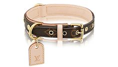 The Louis Vuitton dog collar features the famous LV monogram canvas and a natural cowhide leather backing. It also comes with a leather tag that can be engraved with your dog's name and your phone number. ►PRICE INSIDE