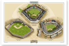 Chicago White Sox Ballparks of Baseball print showing South Side Park, Comiskey Park and U.S. Cellular Field. Signed by the artist Jeff Suntala in pencil.
