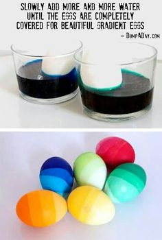 Perfect for halloween.  Periodically add more water to the cup to create the gradient on the egg
