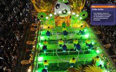 Carro alegórico da União da Ilha representou o jogo de pebolim (totó)