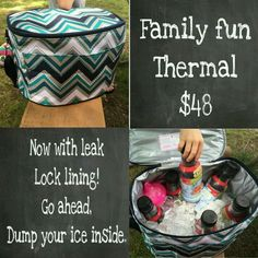 Family Fun Thermal: 2015 New from Thirty-One! It holds ICE! :) Get this one for FREE or half priced: msg me to book an online catalog party or home party. :)