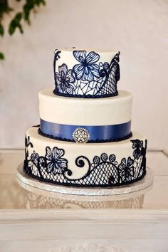 lace cake :  wedding cake ivory navy reception white IMG 8286