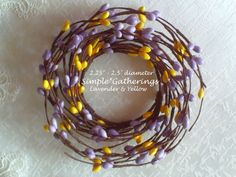 """Pip Berry Candle Ring LAVENDER & YELLOW ~ 2.25"""" - 2.5"""" Diameter Cottage, Country #unbranded #primitivecountrycottage"""