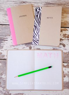 simple as that: DIY School Notebooks (card stock, paper, sew, fold, tape, label)