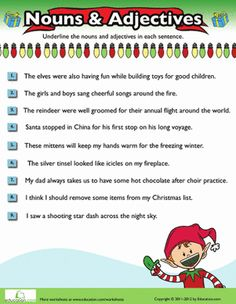 christmas nouns and adjectives 6 teaching 4th grade pinterest worksheets christmas and. Black Bedroom Furniture Sets. Home Design Ideas