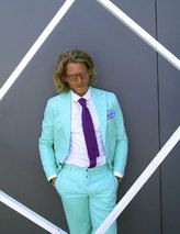 Lapo Elkann. Not many could wear a  mint green suit without looking like a Sweet Briar prom date.