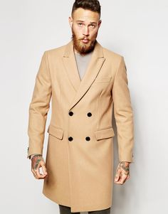 Asos Double Breasted Overcoat In Camel in Brown for Men | Lyst