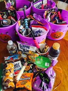 Halloween Buckets made for Soccer Snack! The girls loved them! Halloween inspired treats with some healthy choices.