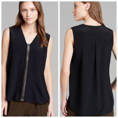 VINCE black perforated leather inset top XS NWT and comes in original garment bag. Sold out! Open to offers. Please use offer button. Thanks. Vince Tops Blouses