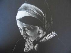 Keny Arkana, crayon de couleur blanc sur canson noir 30x40