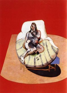 Francis Bacon - Study for portrait of henrietta moraes on a red ground, 1964 Image via www.allpaintings.org