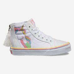 Vans Unicorn Sk8-Hi Zip Girls Shoes ($50) ❤ liked on Polyvore featuring shoes, vans shoes, unicorn shoes, zip shoes, zipper shoes and vans footwear