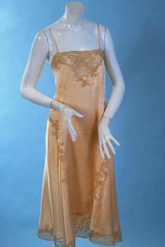 circa 1920-1930 Antique romantic apricot silk charmeuse alencon slip