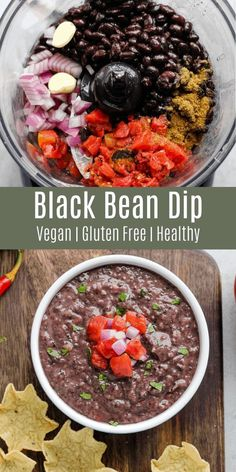 Recipes Snacks Vegan This vegan black bean dip is a healthy party snack! It's great with tortilla chips or veggies. This is a great side dish for tacos or enchiladas. Try it on Taco Tuesday or make it for your next party! Mexican Food Recipes, Whole Food Recipes, Vegetarian Recipes, Healthy Recipes, Vegan Black Bean Recipes, Healthy Dip For Veggies, Vegan Bean Dip Recipe, Healthy Beans, Mexican Desserts