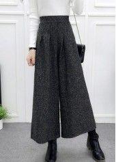 High Waist Wide Leg Dark Grey Straight Pants