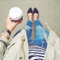 #ootd in stripes & boyfriend jeans #coffeenclothes...
