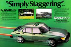 """Simply Staggering"" Vintage Saab 900 Turbo Advertisement."