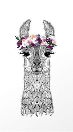 Flower Girl Alpaca Art Print by Monika Strigel Alpacas, Llamas Animal, Animal Drawings, Art Drawings, Alpaca Drawing, Llama Arts, Desenho Tattoo, Art Mural, Chalk Art