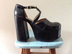 Early 90s El Dantes Black Leather Mega Platform Mary by GothSpring