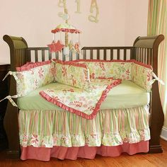 crib bedding - double ruffle skirt with extra small ruffle on top skirt ruffle. 3-4 fabrics