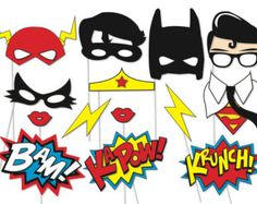 Superhero Photo booth Party Props Set - 14 Piece PRINTABLE - Superheros, Flash, Robin, Batman, Superman, Catwoman, Wonderwoman