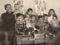 Great grandpa Cox with his nieces and nephews