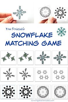 Matching Game Printable Winter activity Free printable snowflake matching game winter activity for kids!Free printable snowflake matching game winter activity for kids! Creative Arts And Crafts, Fun Crafts For Kids, Craft Stick Crafts, Diy Crafts, Snow Crafts, Holiday Crafts, Craft Ideas, Snowflakes For Kids, Snowflake Craft