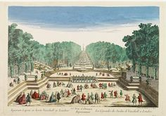 Vüe d'Optique Représentant Les Cascades du Jardin de Vauxhall a Londres. - DAUMONT, A so-called optical print illustrating a perspective view of the fountains and artificial cascades in Vauxhall Gardens, London. Thought Pictures, Map Maker, Les Cascades, Garden Park, Forest Park, Mirror Image, History Museum, Optical Illusions, 18th Century