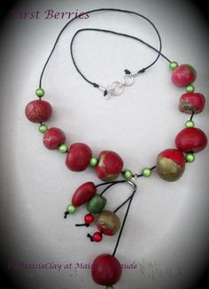 First Berries polymer clay and mixed media Necklace by MaisieClay, £16.00