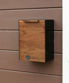 Modern Mailbox Walnut Wall Mounted mailbox Narrow by CeCeWorks Black Mailbox, Diy Mailbox, Modern Mailbox, Wall Mount Mailbox, Mounted Mailbox, Lockable Mailbox, Mailbox Makeover, Locker Designs, Small Hallways